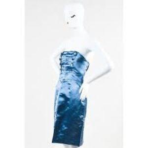 Marc Jacobs Blue Silk Strapless Sailor  Dress